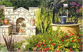 Garten und Brunnen